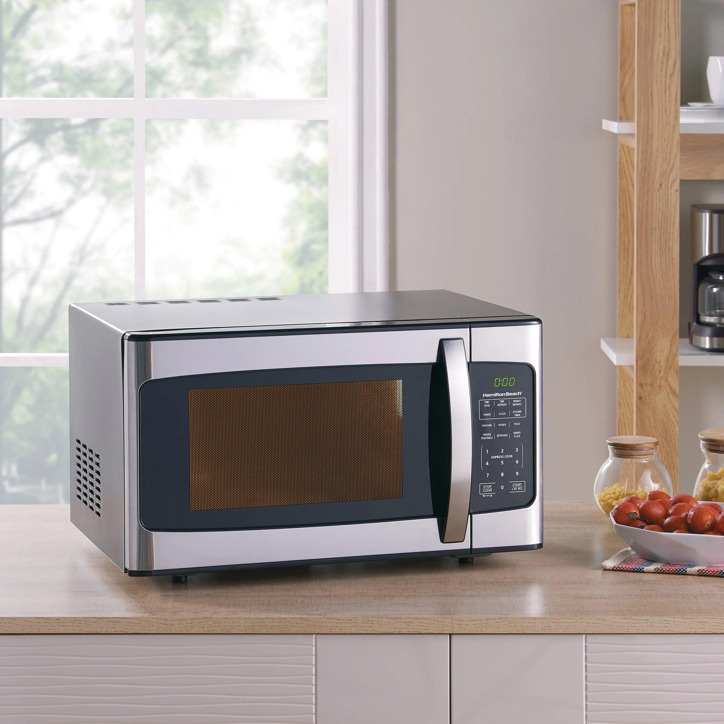 hamilton beach 1 1 cu ft 1000w stainless steel microwave
