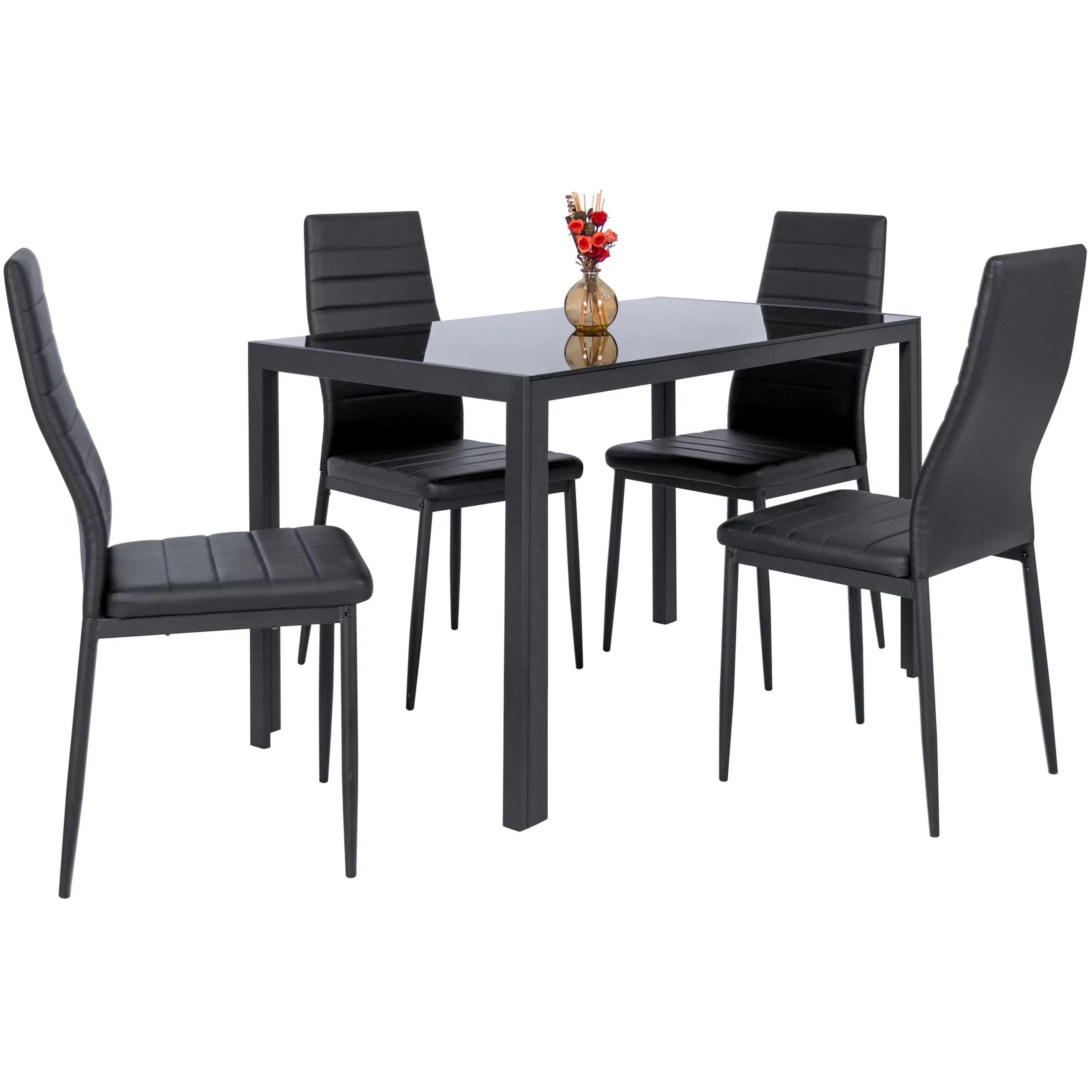 metal kitchen table sets black chairs zimtown modern dining set 4 chair glass room breakfast furniture walmart com