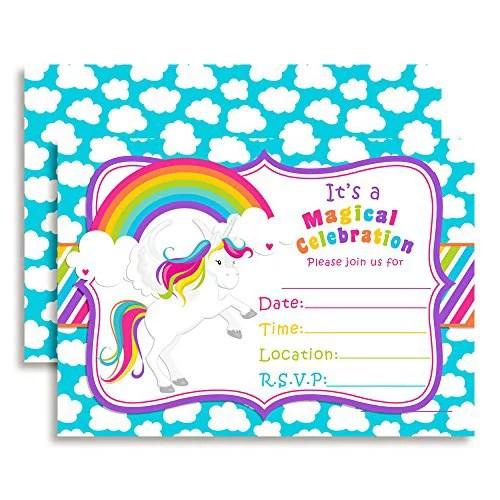 rainbow unicorn birthday party invitations 20 5 x7 fill in cards with twenty white envelopes by amandacreation