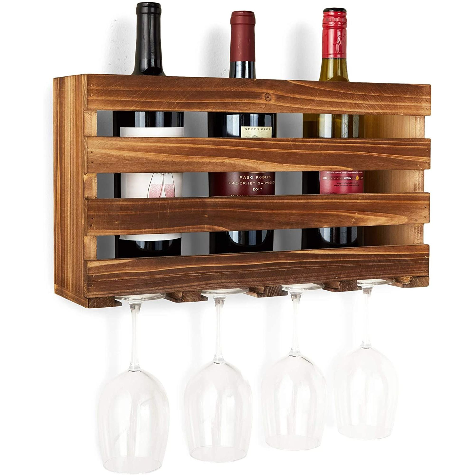wooden wall mount wine rack with glass holder for 4 bottles brown 17 x9 x4 7