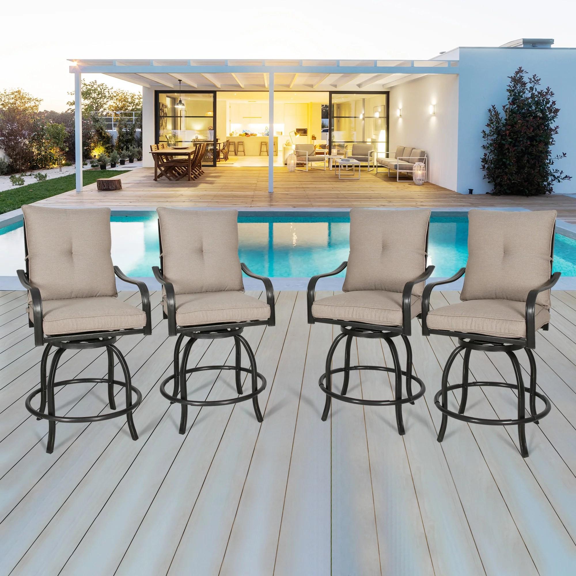 ulax furniture outdoor 4 piece counter height swivel bar stools high patio dining chair set walmart com
