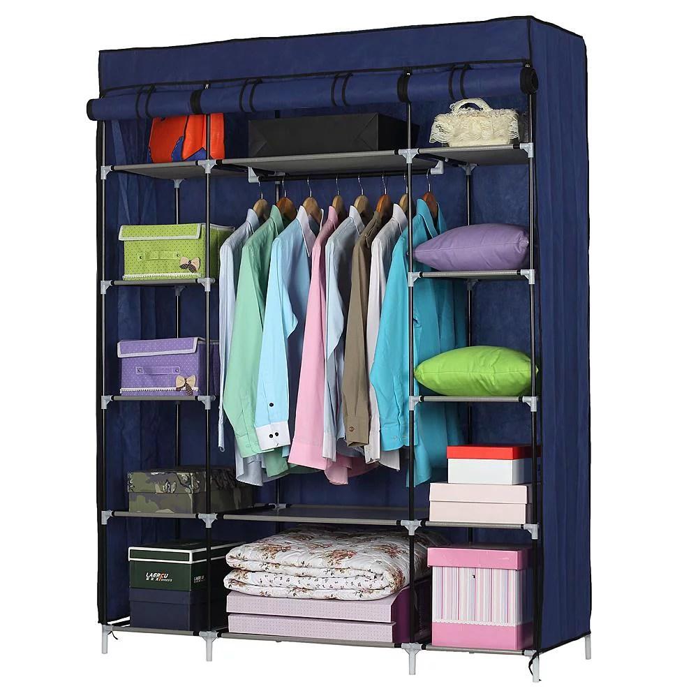ktaxon 53 portable closet storage organizer wardrobe clothes rack with shelves blue walmart com
