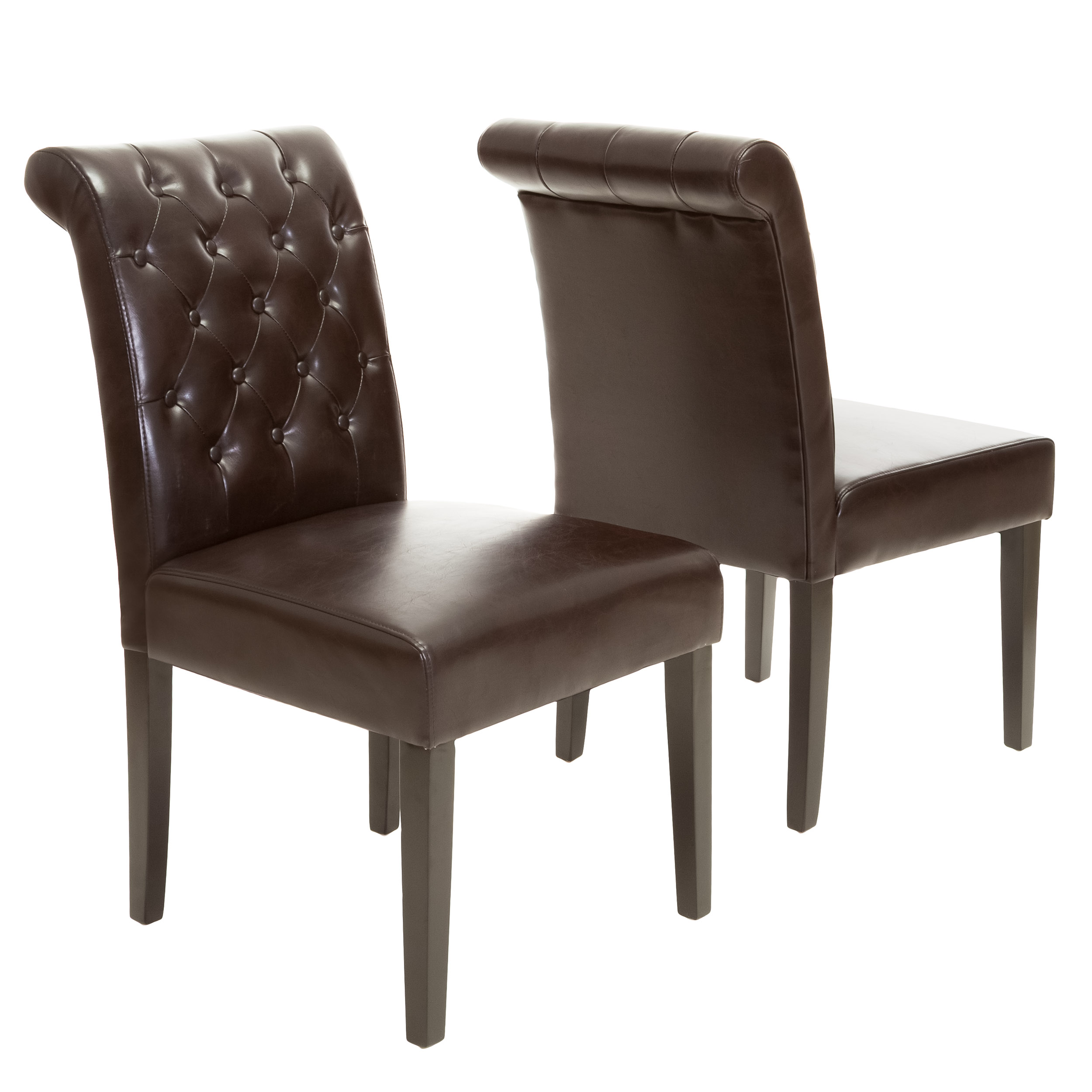 leather tufted dining chair cast iron patio chairs mario bonded set of 2 walmart com