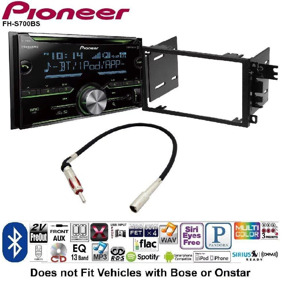 medium resolution of pioneer double din cd receiver built in bluetooth and siriusxm ready 2001 2012 chevy silverado tahoe suburban 2 din car stereo install dash kit walmart