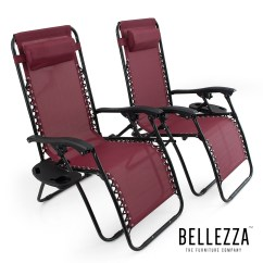 Zero Gravity Chair 2 Pack Royal Princess Belleze Burgundy Anti Chairs Set Of Adjustable Reclining Utility Tray Cup Holder ...