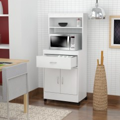 Kitchen Microwave Cart Movable Cabinets Inval Contemporary Laricina White Walmart Com