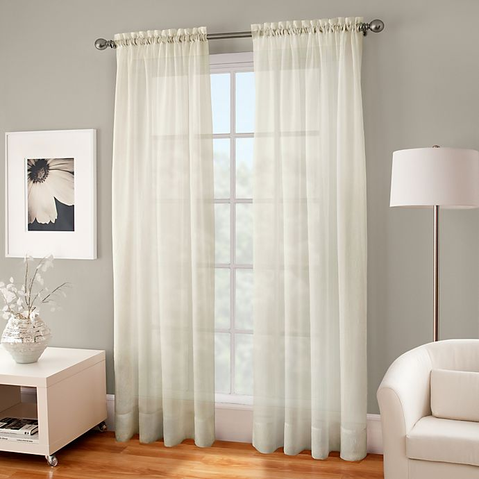 crushed voile sheer 144 inch rod pocket window curtain panel in ivory