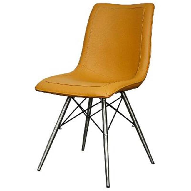 plastic chairs with stainless steel legs x back and table new pacific direct 568236p tc ss blaine kd pu chair 44 turmeric set of 2 walmart com