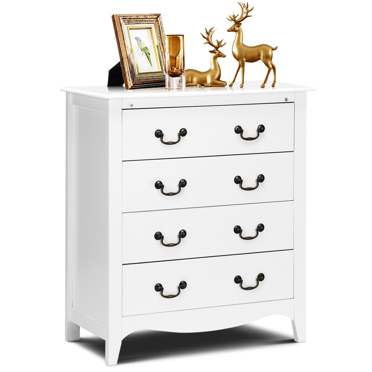 costway 4 drawers chest dresser organizer storage cabinet bedroom furniture white