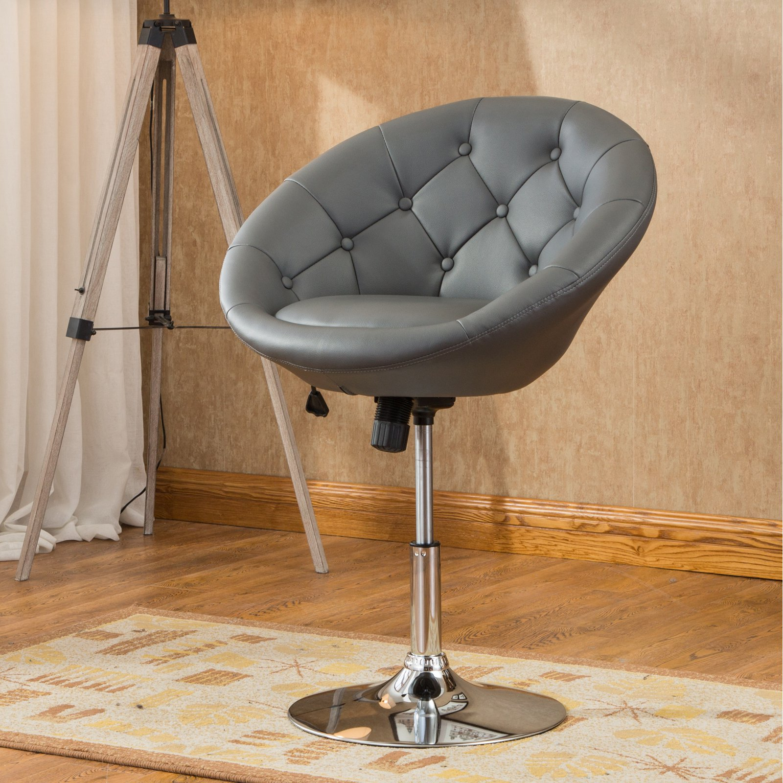 Adjustable Vanity Chair Details About White Pedestal Swivel Chair Faux Leather Accent Height Adjustable Vanity Stool