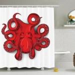 Bathroom Decor Fabric Shower Curtain With Curtain Hooks