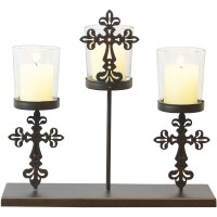 Metal and Glass Christian Cross 3 Votive Candle Holder ...