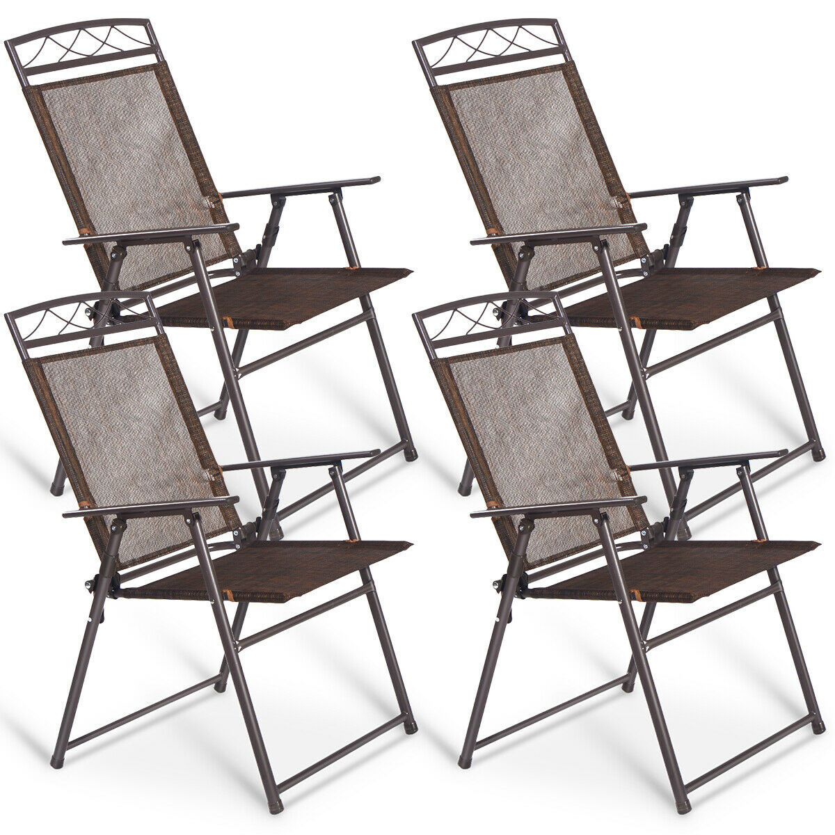 coatway lot de 4 chaises pliantes de jardin en textilene avec 2 accoudoirs anti derapant pour l interieur l exterieur