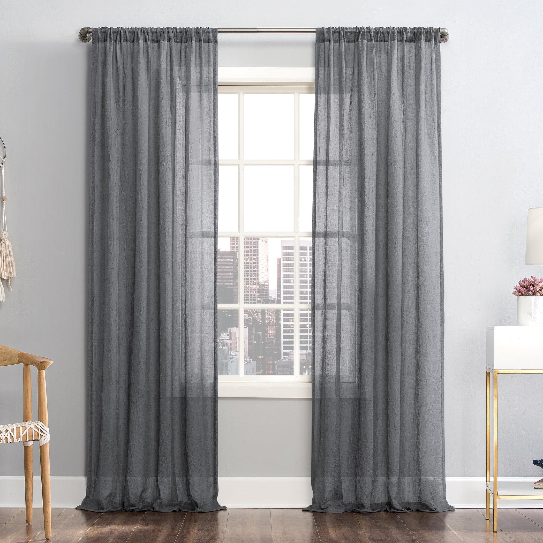 mainstays linen textured semi sheer rod pocket curtain panel