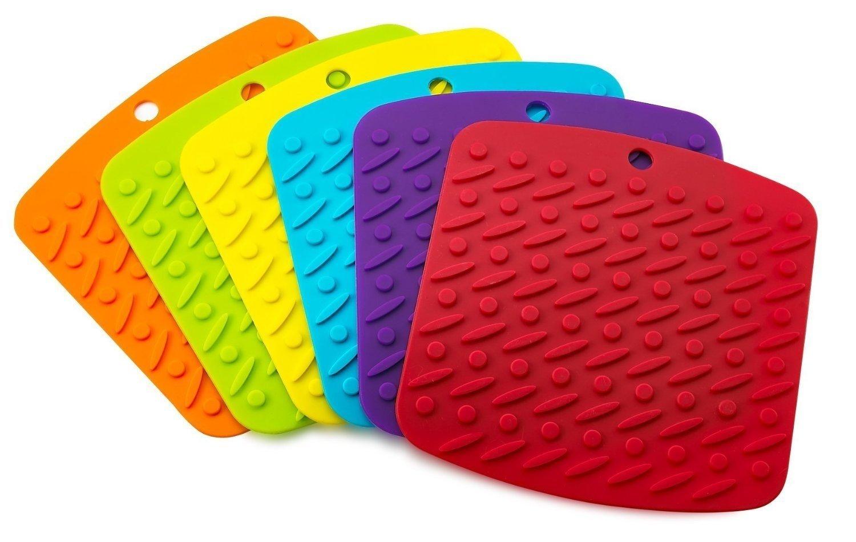 kitchen hot pads laminate tiles multipurpose silicone tool 6 piece premium pot holder trivet mat jar opener
