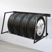 Gymax Multi-Tire Rack Storage Adjustable Steel Wall Mount ...