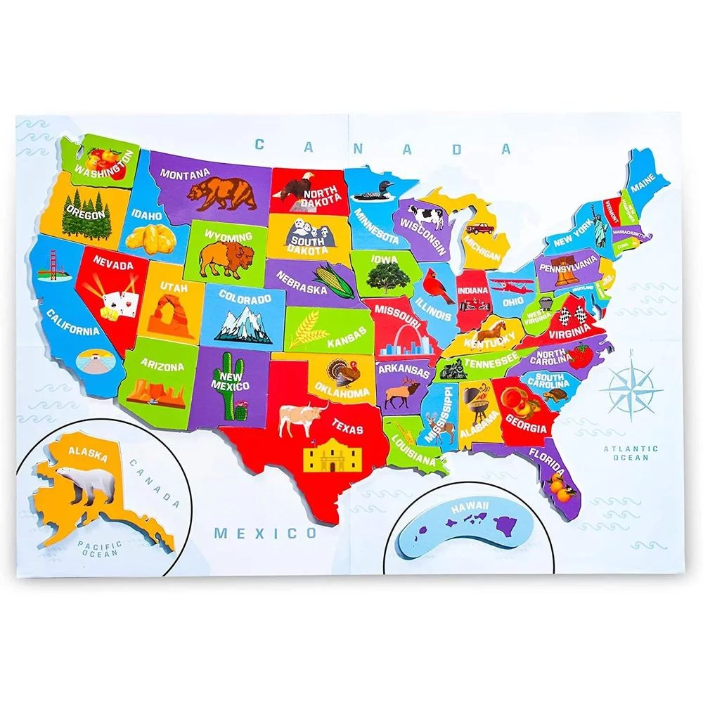 Once the correct state has been selected (or you have used up all your guesses), another state will appear at the top of. 44pcs Magnetic Usa Puzzle Map For Kids With Capitals And Outline Of The United States Jigsaw