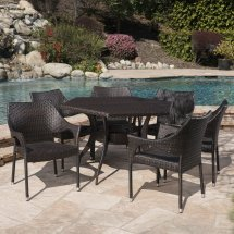 Outdoor 7 Piece Wicker Hexagon Dining Set With Stacking
