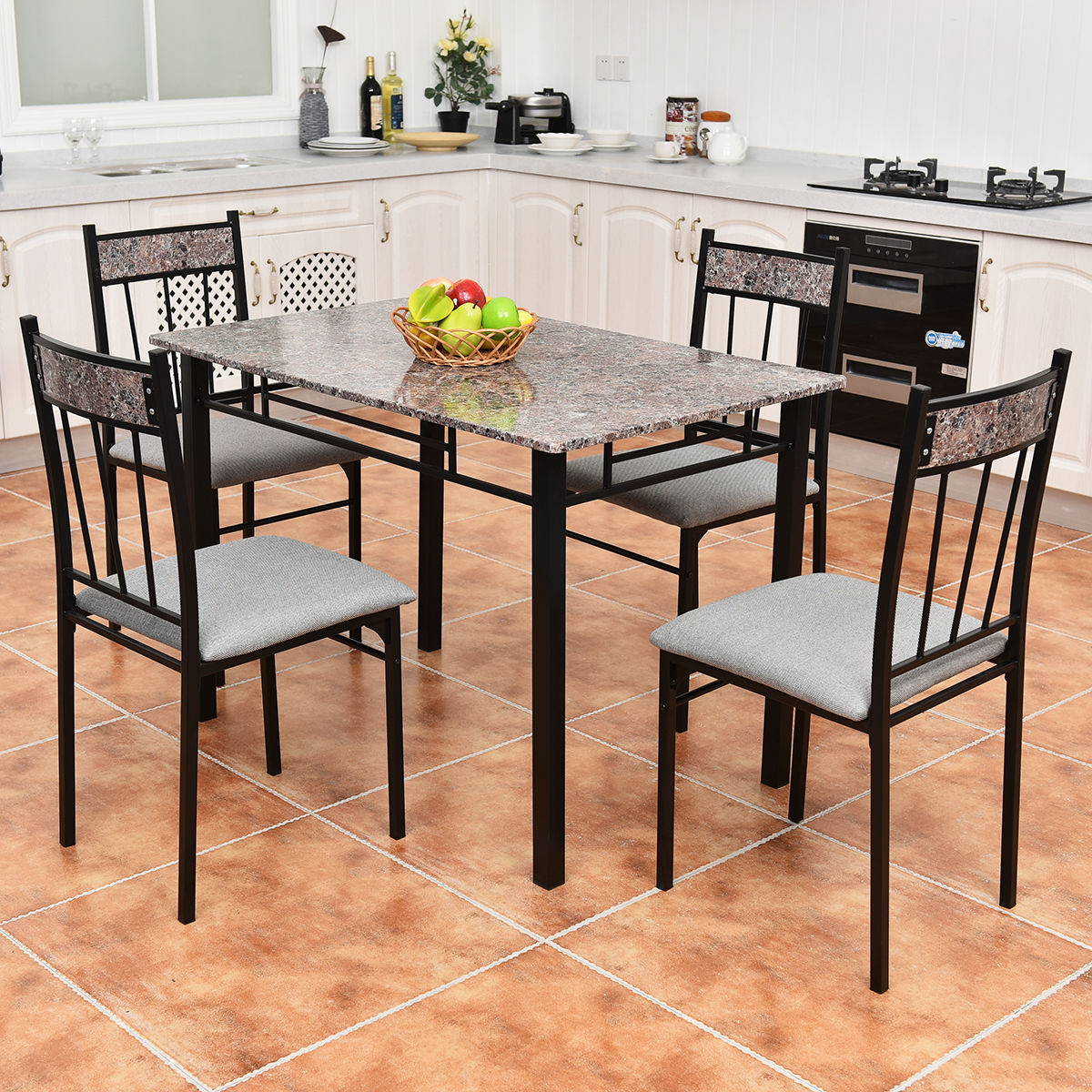 chairs for kitchen surplus cabinets 5 pcsfaux marble dining set table and 4 breakfast furniture