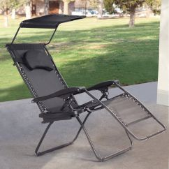 Anti Gravity Lawn Chair Baby Sitting India Gymax Folding Recliner Zero Lounge W Shade Canopy Cup Holder Black Walmart Com