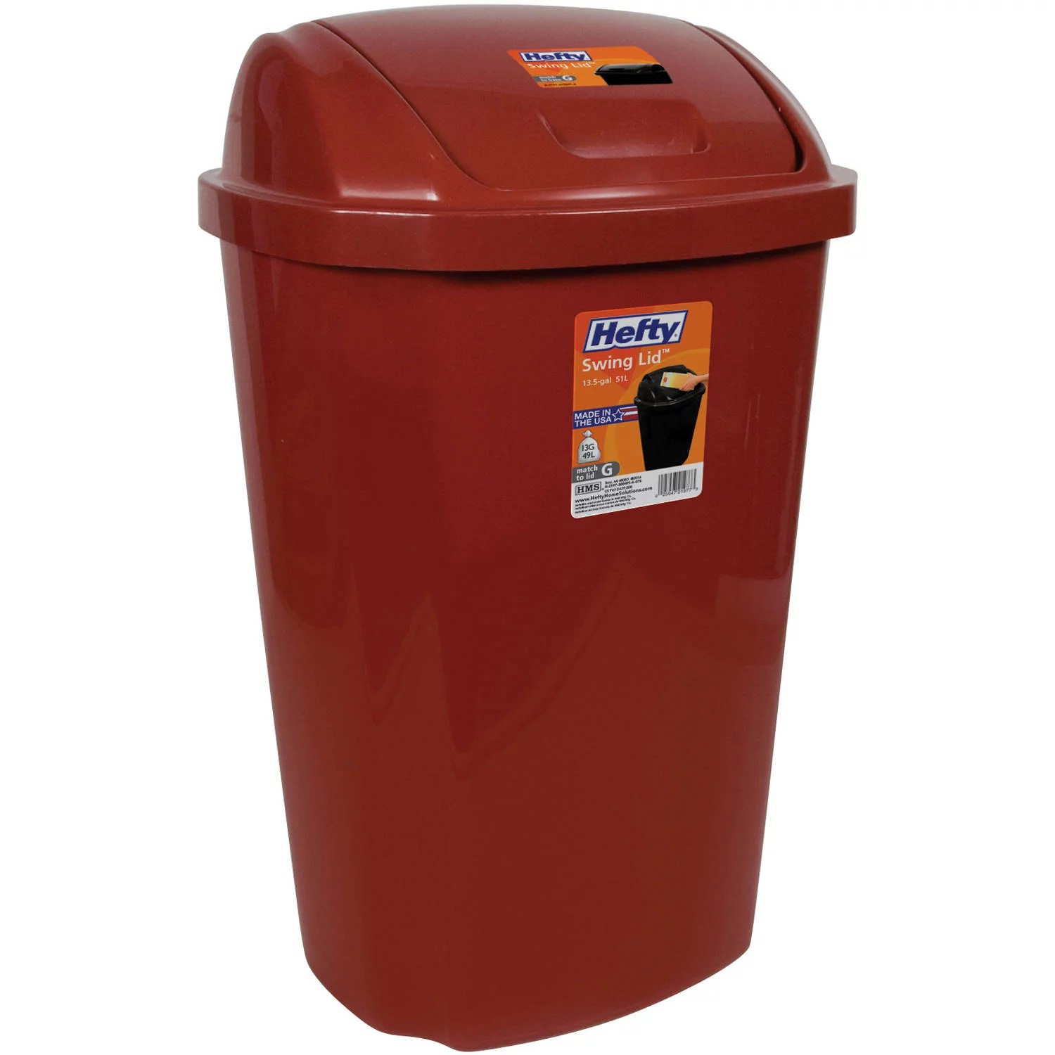 Kitchen Trash Can 13.5 Gallon Hefty Swing Lid Red Waste