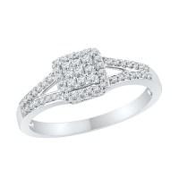 Diamond Square Split Shank Engagement Ring in 14k White ...