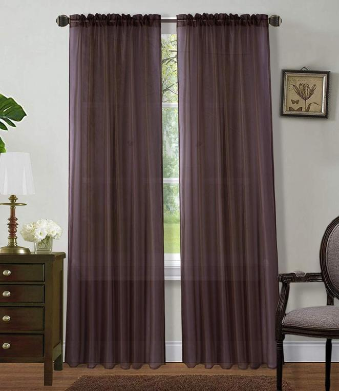 Voile Panels Window Sheer Curtains, Rod Pocket, Solid Sheer Curtains (Set of 2)