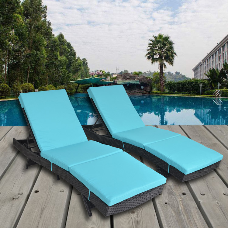 turquoise lounge chair fishing bed double patio set of 2 black rattan cushion recliners garden chaise outdoor pool sunbed walmart com