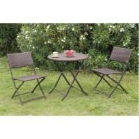 3 pc Brown Casual Patio Outdoor Garden Deck Foldable Resin ...