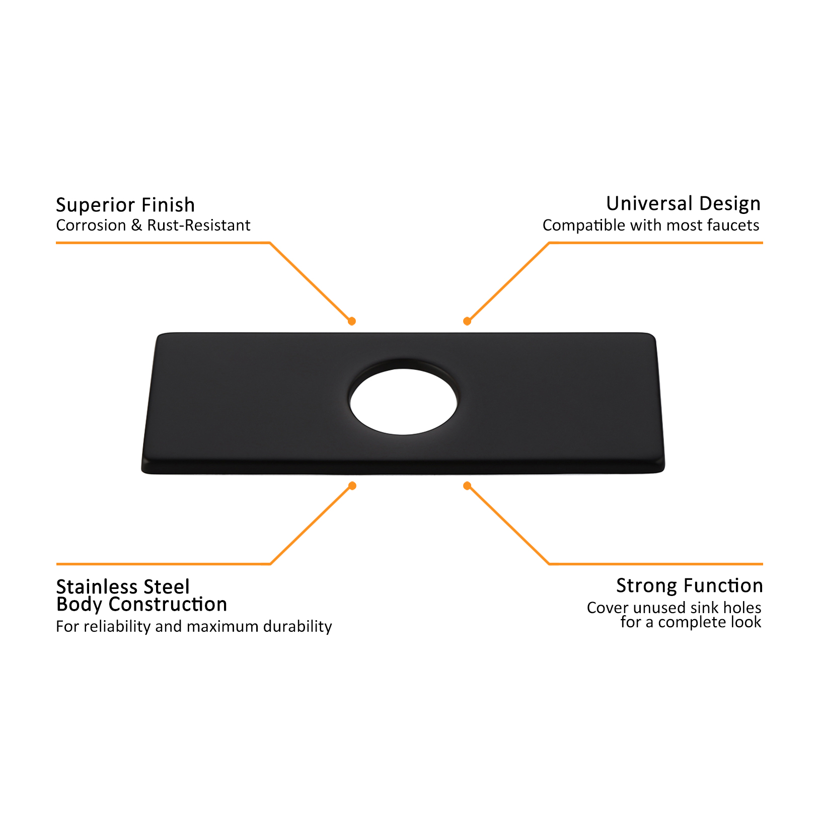 4 inches stainless steel rectangular escutcheon plate bathroom vanity sink faucet hole cover deck plate matte black