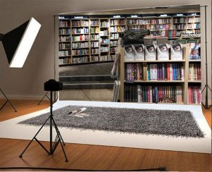 study studio mohome bookshelf polyster props backdrop adults library interior
