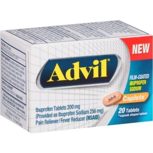 Advil Film-Coated Pain Relief Ibuprofen Caplets 20 Count ...