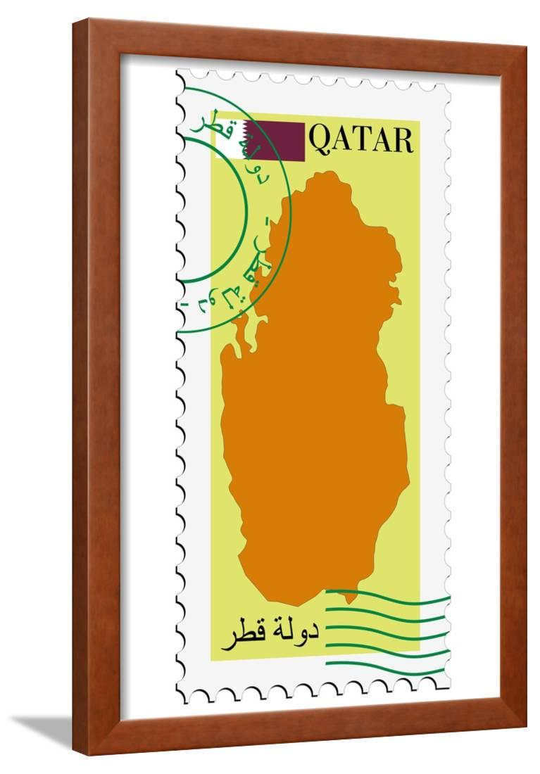 Stamp With Map And Flag Of Qatar Framed Print Wall Art By
