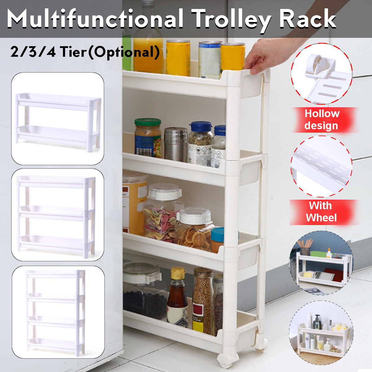 3 4 tier slide out rolling cart kitchen can and spice racks trolley storage rack with wheels shelf cart organizer shelving for home kitchen bathroom