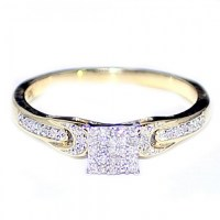 Diamond Engagement Promise Ring 0.14cttw 10K Gold Square ...