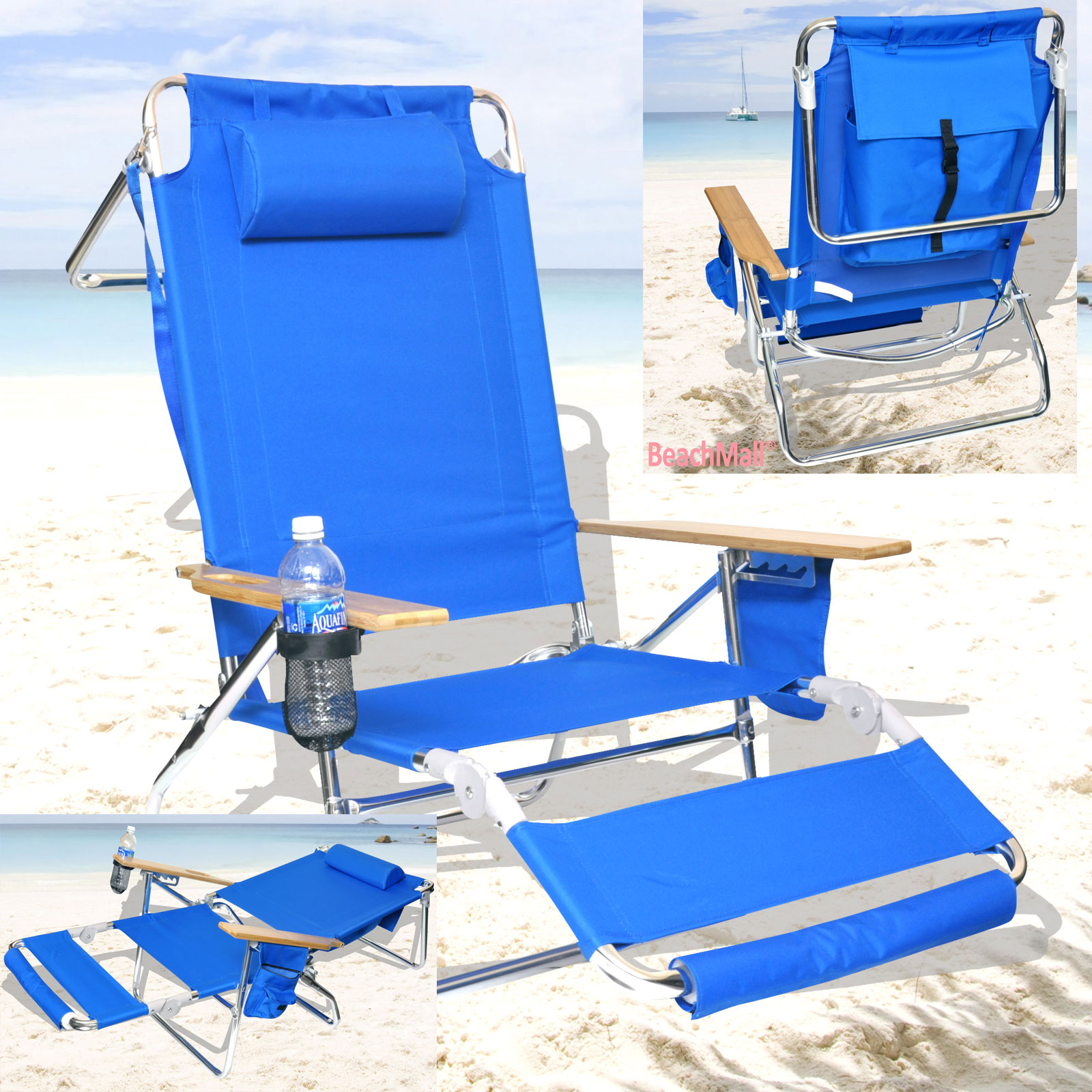 Beach Lounge Chairs Deluxe 3 In 1 Beach Chair Lounger W Drink Holder And Large Storage Pouch