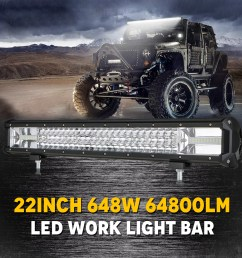 tsv 22inch led light bar 108w off road driving lights led work light spot flood fog lamp with wiring harness for polaris rzr toyota gmc utv truck atv jeep [ 1600 x 1600 Pixel ]
