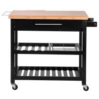 Merax Kitchen Furniture Natural Wood Kitchen Cart/Island ...