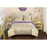 Teen Girls Metal Gold Purple Comforter Set Sheet Set