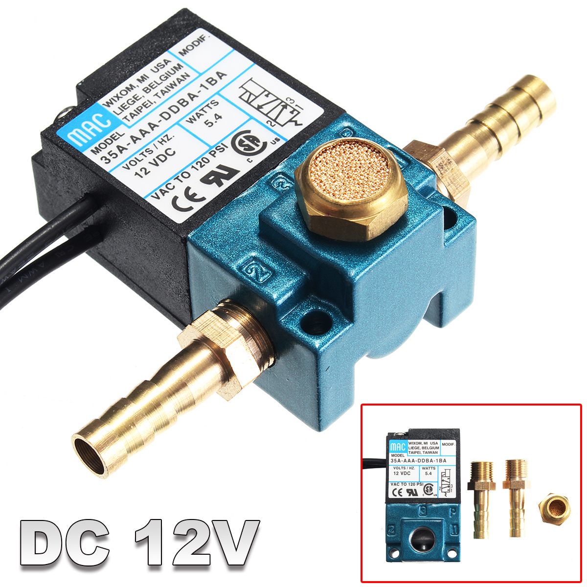 hight resolution of 3 port dc 12v 5 4 w pressureswitche electronic boost control solenoid valve for ecu pwm 35a aaa ddba 1ba with brass fittings walmart com