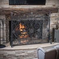 Home Loft Concepts Laurentia Panel Iron Fireplace Screen ...