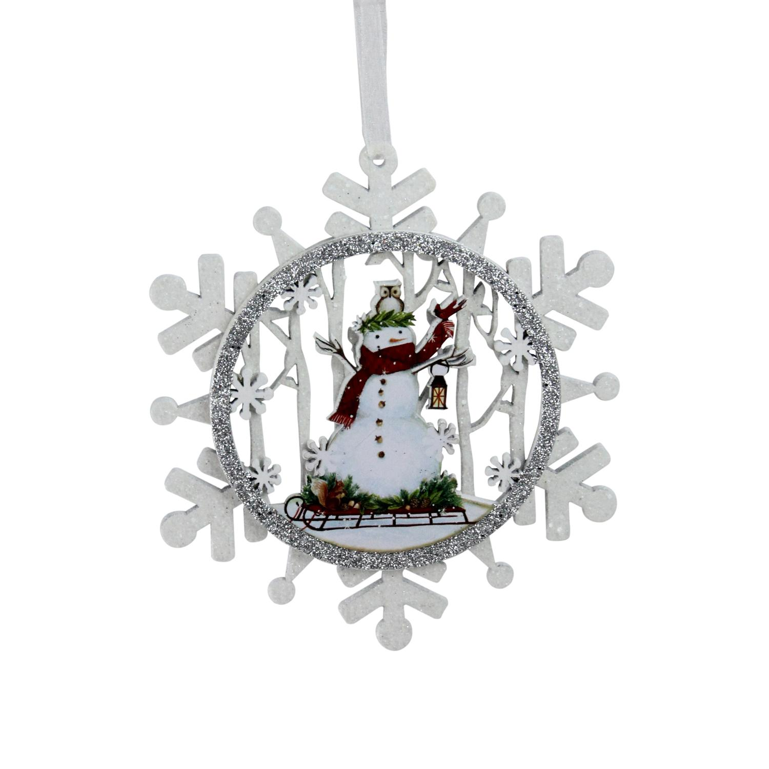 Roman 5 Snowman On A Sled Glittered Cut Out Snowflake