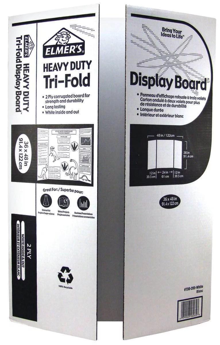 elmer s heavy duty tri fold display board white 36x48 inch walmart com