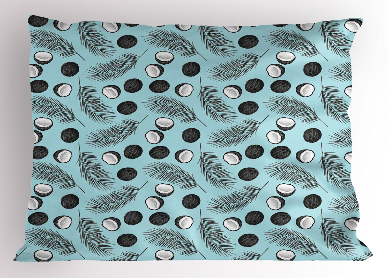 Palm Leaf Pillow Sham Hawaiian Tropical Pattern With