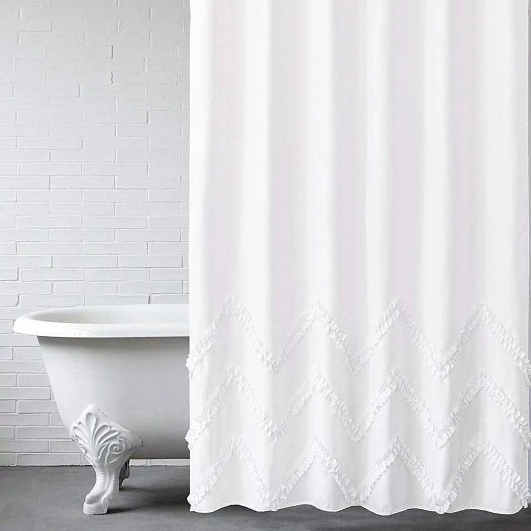 white ruffle shower curtain with zig zag stripes of ruffled trim farmhouse chic fabric shower curtain for bathroom machine washable 72 x72