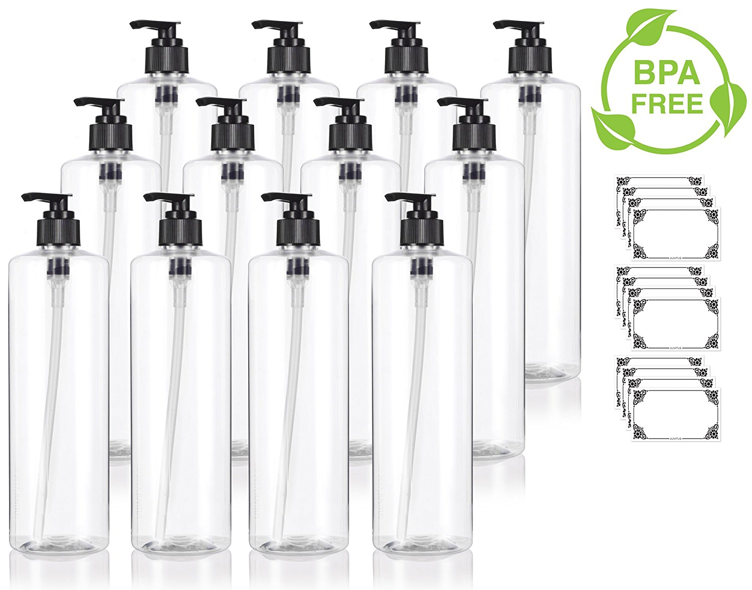 Clear 16 Oz 500 Ml Professional Cylinder Pet Bottles Bpa Free With Black Lotion Pump 12