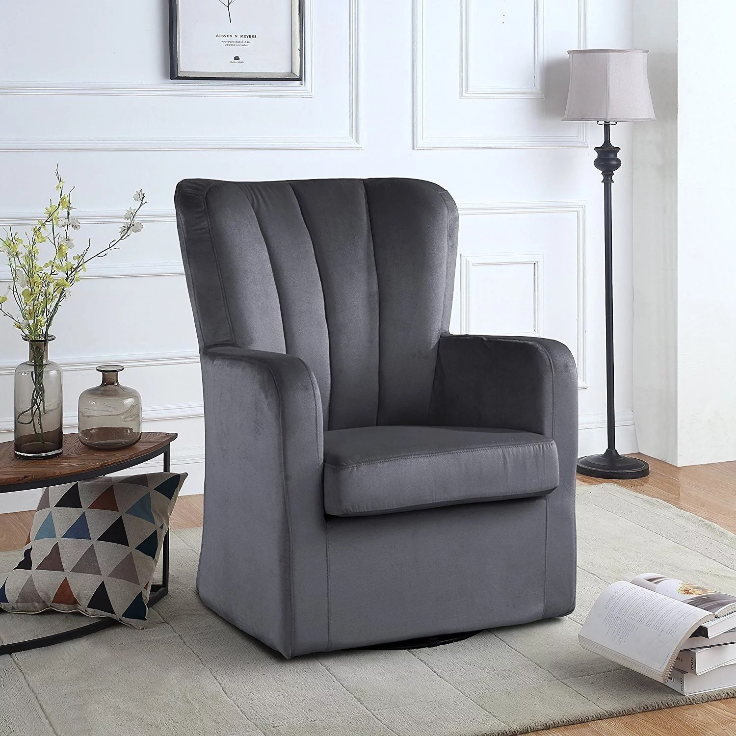swivel chair in living room portable camp modern velvet armchair rotating accent for with pleated back dark grey walmart com