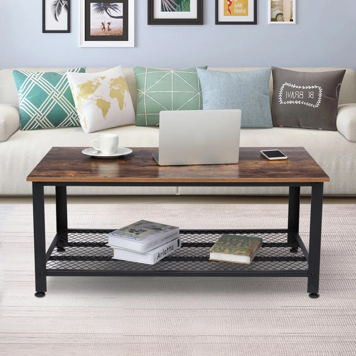 industrial coffee table with storage drawers for living room cocktail end tables wood furniture with metal frame walmart com