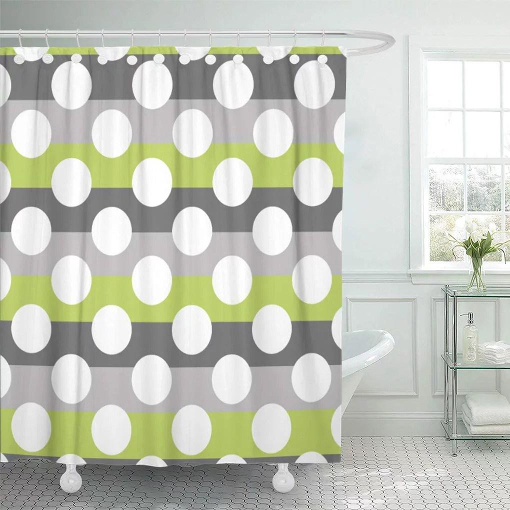 cynlon circles green gray white modern polka dot pattern retro bathroom decor bath shower curtain 66x72 inch walmart com