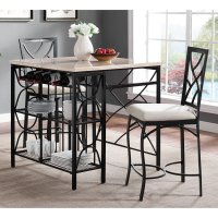 Bernards Kitchen Island with 2 Counter Height Stools ...